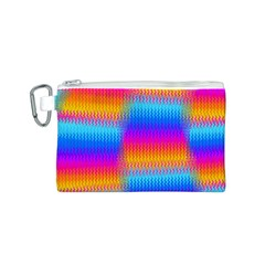 Psychedelic Rainbow Heat Waves Canvas Cosmetic Bag (S)