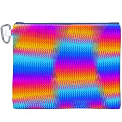 Psychedelic Rainbow Heat Waves Canvas Cosmetic Bag (XXXL)