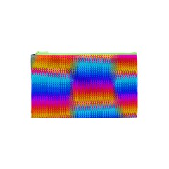 Psychedelic Rainbow Heat Waves Cosmetic Bag (XS)