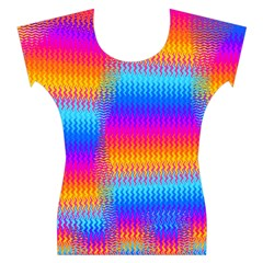 Psychedelic Rainbow Heat Waves Women s Cap Sleeve Top