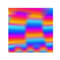Psychedelic Rainbow Heat Waves Small Satin Scarf (Square)