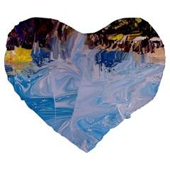 Splash 4 Large 19  Premium Flano Heart Shape Cushions