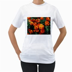 Tagetes Women s T-Shirt (White) (Two Sided)