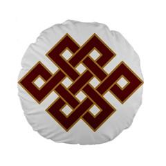 Buddhist Endless Knot Auspicious Symbol Standard 15  Premium Flano Round Cushion