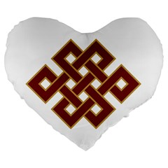 Buddhist Endless Knot Auspicious Symbol Large 19  Premium Flano Heart Shape Cushion