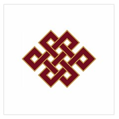 Buddhist Endless Knot Auspicious Symbol Large Satin Scarf (Square)