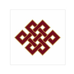 Buddhist Endless Knot Auspicious Symbol Small Satin Scarf (Square)
