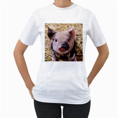 Sweet Piglet Women s T Shirt (white) (two Sided)