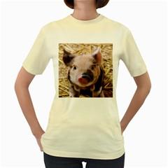 Sweet Piglet Women s Yellow T-Shirt