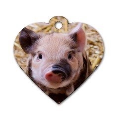 Sweet Piglet Dog Tag Heart (two Sides)