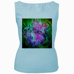 Abstract Music  Women s Baby Blue Tank Tops