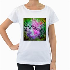 Abstract Music  Women s Loose-Fit T-Shirt (White)