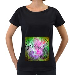 Abstract Music  Women s Loose-Fit T-Shirt (Black)