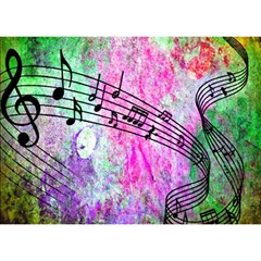 Abstract Music  Birthday Cake 3d Greeting Card (7x5)