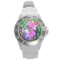 Abstract Music  Round Plastic Sport Watch (l)