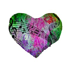 Abstract Music  Standard 16  Premium Flano Heart Shape Cushions