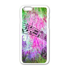 Abstract Music  Apple Iphone 6 White Enamel Case