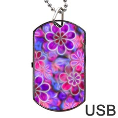 Pretty Floral Painting Dog Tag USB Flash (Two Sides)