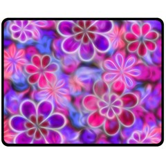 Pretty Floral Painting Double Sided Fleece Blanket (Medium)