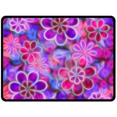 Pretty Floral Painting Double Sided Fleece Blanket (large)