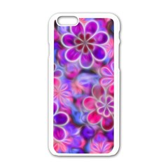 Pretty Floral Painting Apple iPhone 6 White Enamel Case