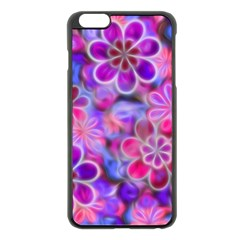 Pretty Floral Painting Apple iPhone 6 Plus Black Enamel Case