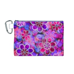 Pretty Floral Painting Canvas Cosmetic Bag (M)