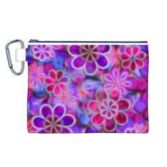 Pretty Floral Painting Canvas Cosmetic Bag (L)