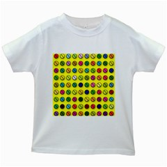 Multi Col Pills Pattern Kids White T-Shirts