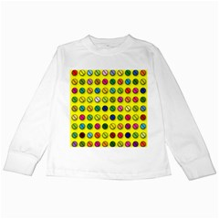 Multi Col Pills Pattern Kids Long Sleeve T-Shirts