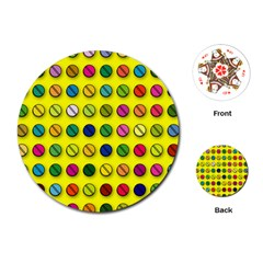 Multi Col Pills Pattern Playing Cards (Round)