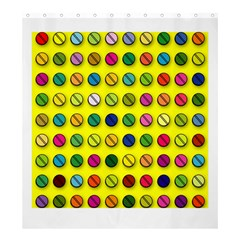 Multi Col Pills Pattern Shower Curtain 66  x 72  (Large)