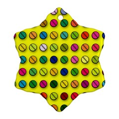 Multi Col Pills Pattern Snowflake Ornament (2-Side)