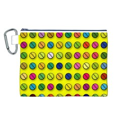 Multi Col Pills Pattern Canvas Cosmetic Bag (L)