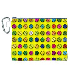 Multi Col Pills Pattern Canvas Cosmetic Bag (XL)