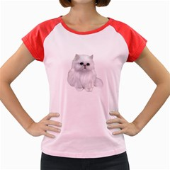 White Persian Cat Clipart Women s Cap Sleeve T Shirt
