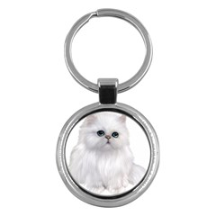 White Persian Cat Clipart Key Chains (round)