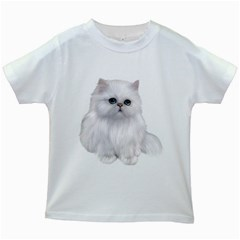 White Persian Cat Clipart Kids White T-Shirts