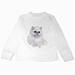 White Persian Cat Clipart Kids Long Sleeve T-Shirts