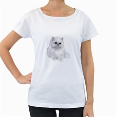 White Persian Cat Clipart Women s Loose-Fit T-Shirt (White)