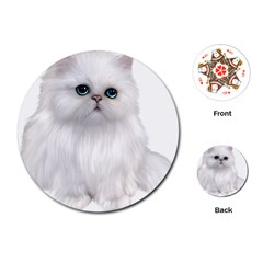 White Persian Cat Clipart Playing Cards (Round)