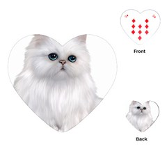White Persian Cat Clipart Playing Cards (Heart)