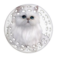 White Persian Cat Clipart Round Filigree Ornament (2Side)