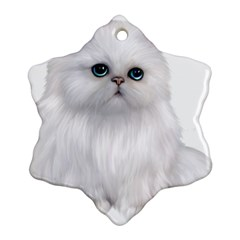 White Persian Cat Clipart Snowflake Ornament (2-Side)