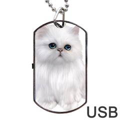 White Persian Cat Clipart Dog Tag USB Flash (Two Sides)