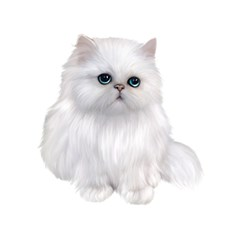 White Persian Cat Clipart Birthday Cake 3D Greeting Card (7x5)