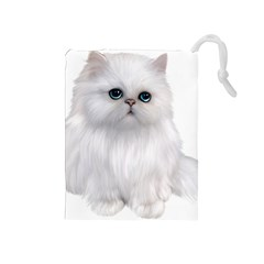 White Persian Cat Clipart Drawstring Pouches (medium)