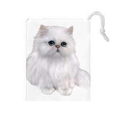White Persian Cat Clipart Drawstring Pouches (Large)