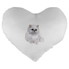 White Persian Cat Clipart Large 19  Premium Flano Heart Shape Cushions