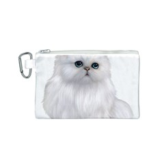 White Persian Cat Clipart Canvas Cosmetic Bag (s)
